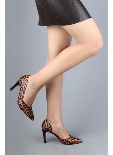 Modabuymus Modabuymus Leopar Desenli Yanı Açık Stiletto Topuklu Kadın Ayakkabı - Yeva Siyah